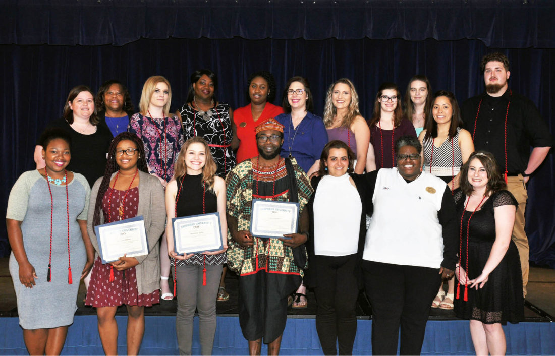 Shown in the front row, from left, are Latavia Smith, Charles Town; Martina Adams, Washington, D.C.; Madeline Tighe, Paw Paw; Jules Gamaleu, Burtonsville, Maryland; Fadela Belhaj, TRiO graduate assistant; Evora Baker, TRiO academic retention specialist; and Amanda Gentry, Wiley Ford. Back row: Michelle Ricketts, TRiO academic retention specialist; Cynthia Copney, director of TRiO; Molly Adams, Martinsburg; Lyvon Campbell, Loganville, Georgia; Tajmarie Rowe, TRiO senior administrative assistant; Lisa Butler, Charles Town; Katelyn Turner, Bloomery; Jade Dusci, Walkersville, Maryland; Kayla Eury, Keedysville, Maryland; Audrey Delos Santos, Boonsboro, Maryland; and Jacob Mellow, Harpers Ferry. (Photo courtesy of Shepherdstown University)