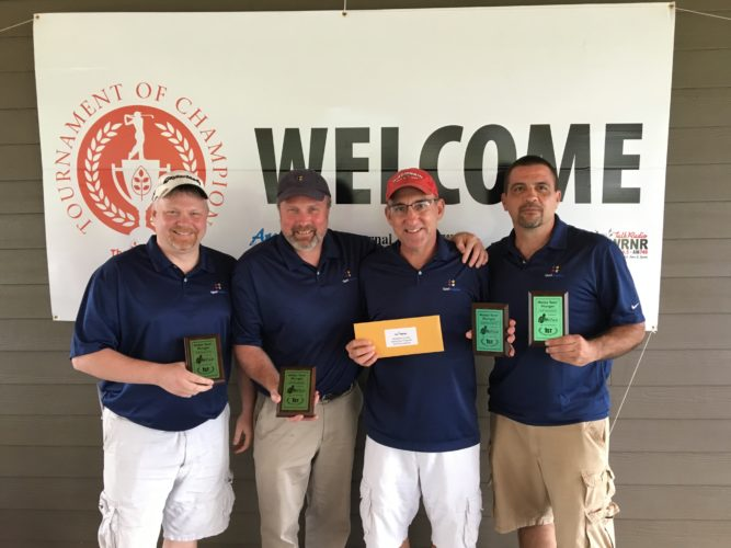 """Pictured are the winners from the Holes """"Fore"""" Hunger golf tournament hosted by the BackPack Program at The Woods recently. From left to right is Jeff Nelson, Jim Sutclif, Jim Miller and Ken Stolipher. They are the first qualifiers for the end-of-season Tournament of Champions tournament at The Woods."""