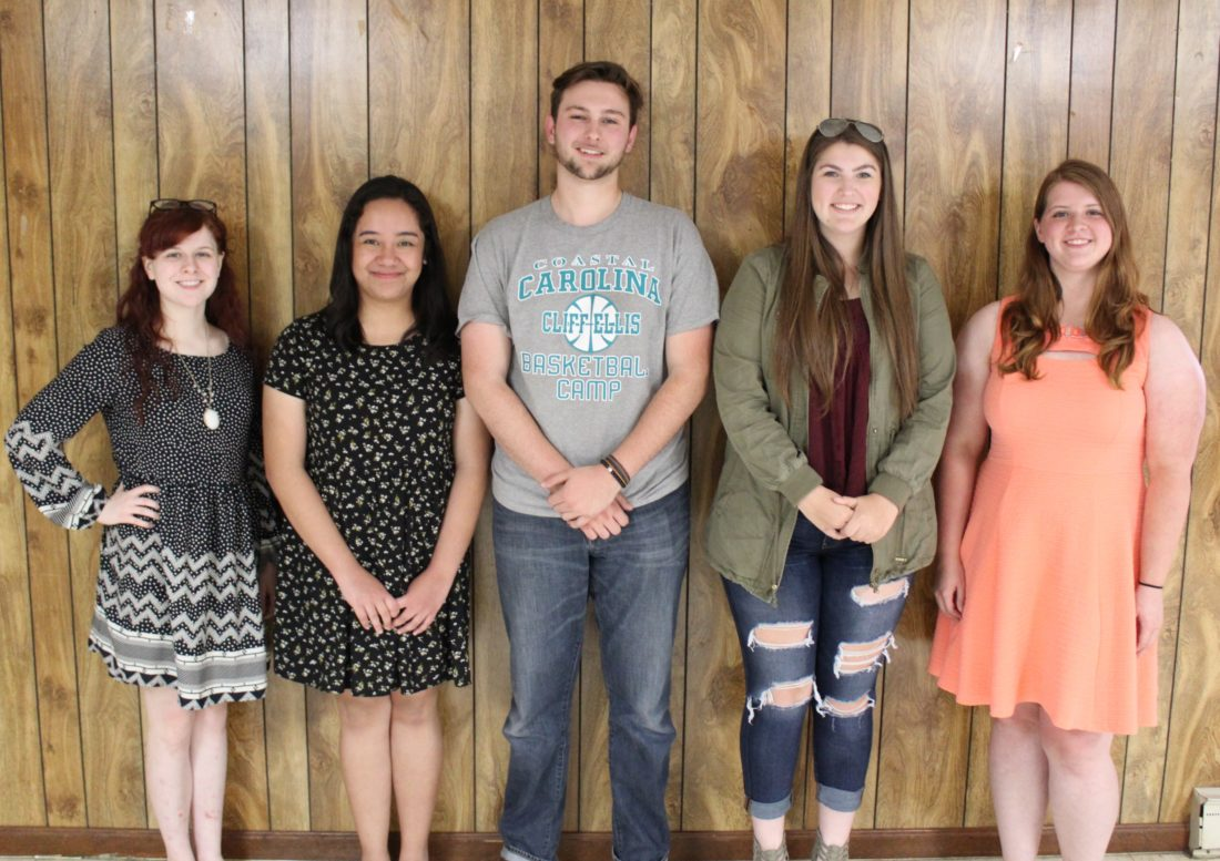 Scholarship Winners, from left to right: Katy Unger, Katrina Roxas, Brock Adams, Alissa Adams, and Courtney Gordon. (Submitted photo)