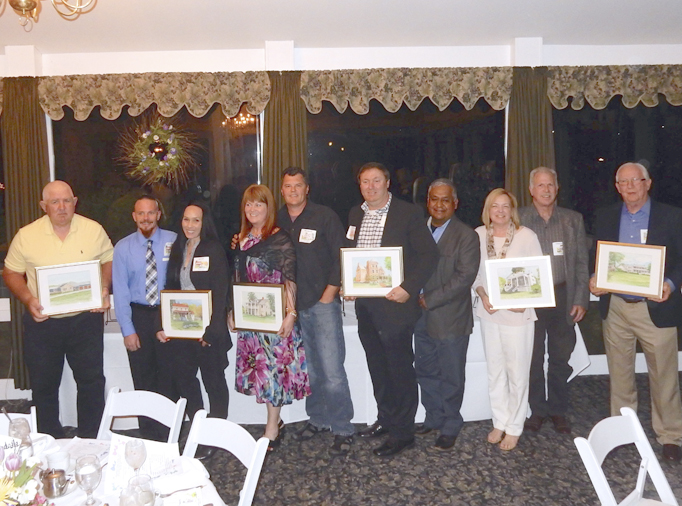Pictured, left to right is Dann Stuart (Buddy's House), Charles and Kami Seal (John Evans House), Vicki Barnard and Mike Bochinski (Patterson Distillery House), David Wilson and Antonio Ramirez (Gibson Todd House), Lori and Edward Schwartz (Falling Spring), and Walter Ailes (Lick Run Plantation). (Submitted photo)