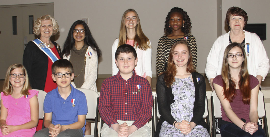 Pictured, seated left to right, are, fifth grade winners, Audrey Hasley, first place and Mason Garrett, second place; seventh grade winners, Riley Potter, first place, Aalijah Malick, second place, and Saline Butts, honorable mention; standing, Barby Frankenberry, Curator General, NSDAR; eighth grade winners, Nina Saluja, first place in the Shenandoah Valley Chapter, West Virginia NSDAR, and the East Central Division NSDAR; Rachel Schenck, second place and Pelagie Ky, third place; Margie Ways, Regent, Shenandoah Valley Chapter NSDAR. (Submitted photo)