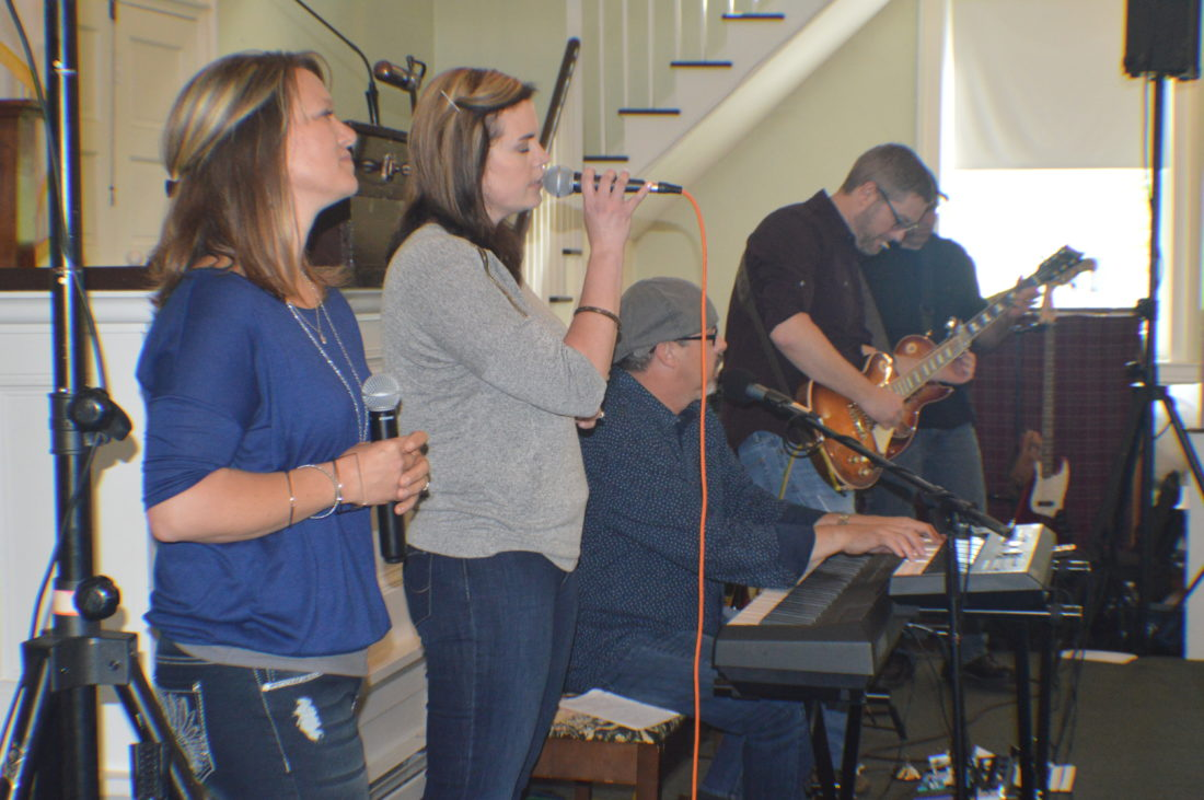 """Band members of """"Changed"""" performing at Falling Waters Presbyterian Church on Sunday."""