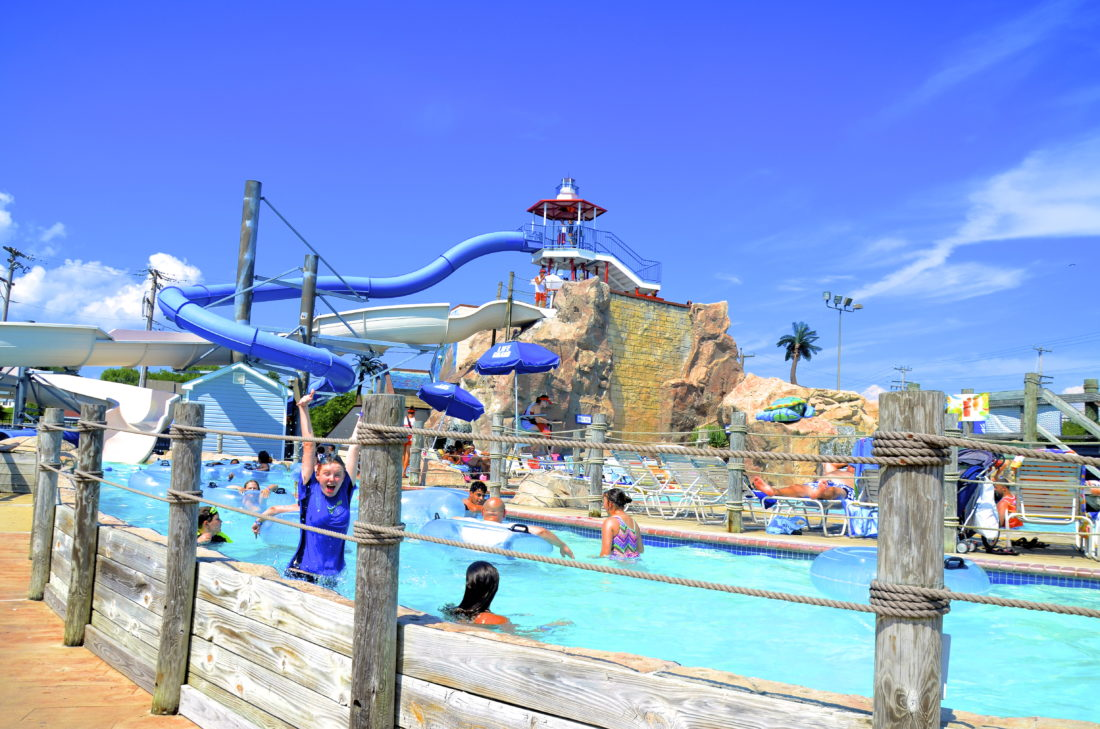 Chesapeake Beach built its own water park featuring eight slides, fountains, waterfalls and a lazy river. (Photo by Jeanne Mozier)