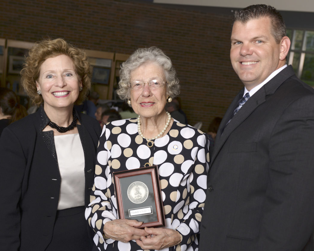 Shepherd Alumna Betty Lowe was welcomed into the Shepherd University Foundation's Joseph P. McMurran Society. Pictured, from left, are Shepherd President Mary J.C. Hendrix, Lowe, and Chris Colbert, Vice President of the Shepherd University Foundation. (Photo courtesy of Shepherd University)