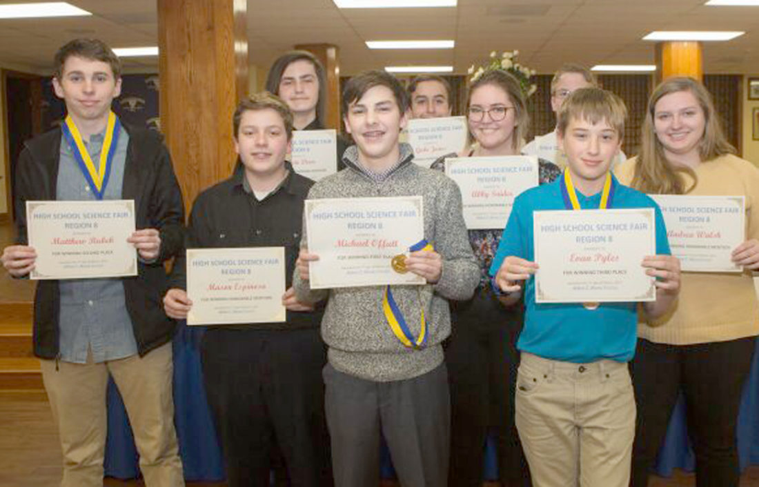 Winners in the Physics and Astronomy category included, front row from left, Matthew Rubeck, Mason Espinosa, Michael Offutt, Abby Snider, Evan Pyles, Andrea Walsh. Back row, Calvin Dear, Gabe Jones and JR Slone. (Submitted photo)