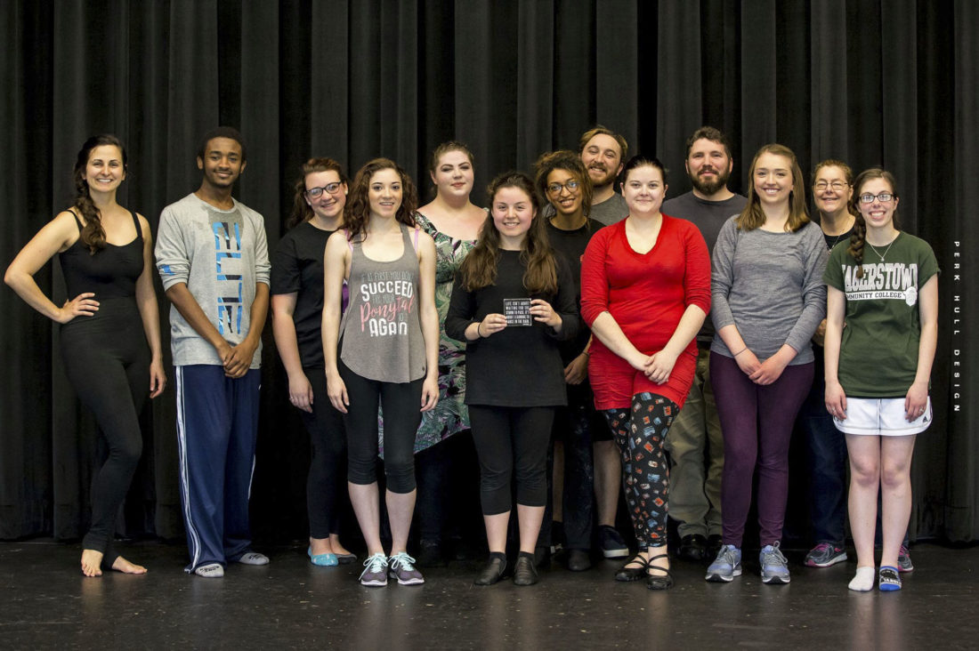 Members of the Robinwood Players are, from left, HCC Dance Instructor Alyssa Little; HCC students Ryan Rowe, Lyric McNeil, Lexi Oliver, Beth Malone, Paola Torres, Marlena Devon, Adam Marten, Heather Wallen, Andrew Coleman, Carrie Barr; HCC Costume Assistant Robin Shaner; and HCC student Lindsay Scarbrough. (Submitted photo)