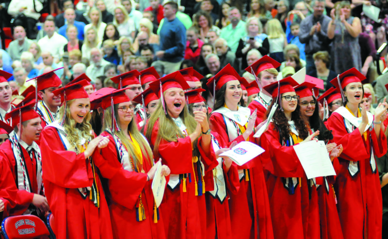 Journal photo by Ron Agnir Senior class members celebrate at Thursday's graduation ceremony at Spring Mills HIgh School. See more photos on CU.journal-news.net.