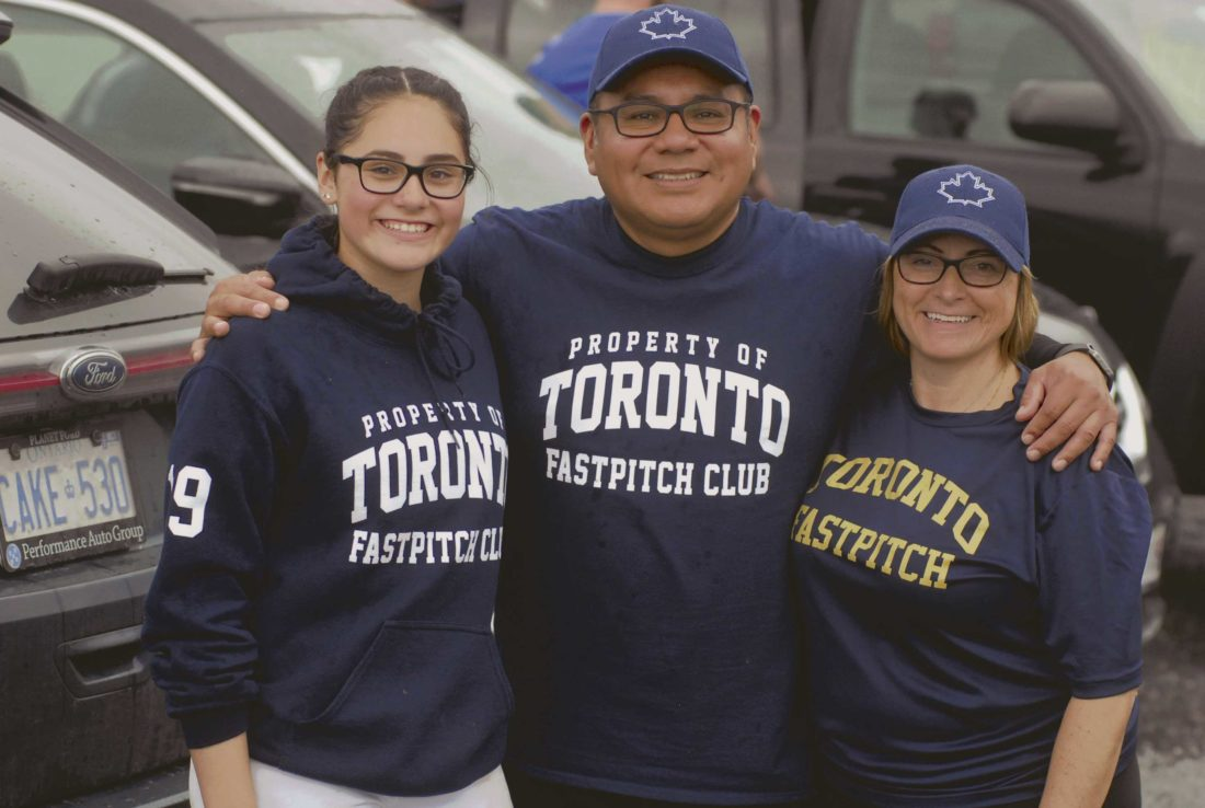 Journal file photo by Rick Kozlowski Sophia Vilchez, far left, Jose Vilchez and Julie Vilchez traveled from Toronto tournament to participate in the Memorial Day Madness softball tournament.