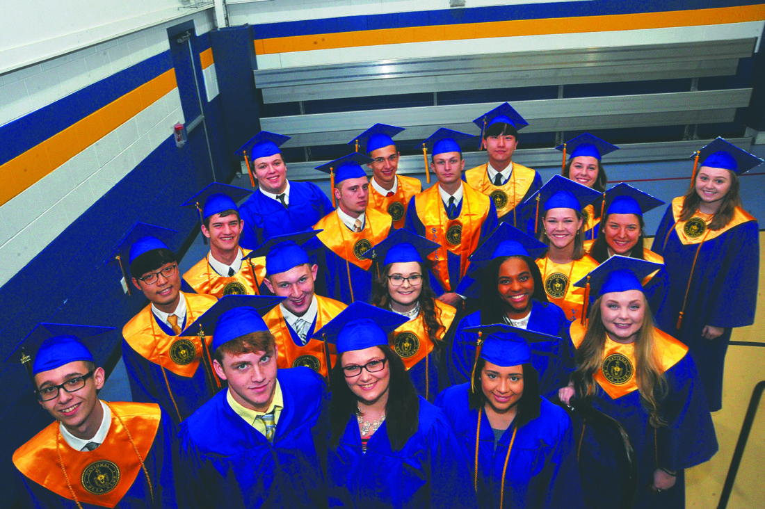 Journal photo by Jeff McCoy Members of the Faith Christian Academy's class of 2017 pose after Saturday's graduation ceremony.