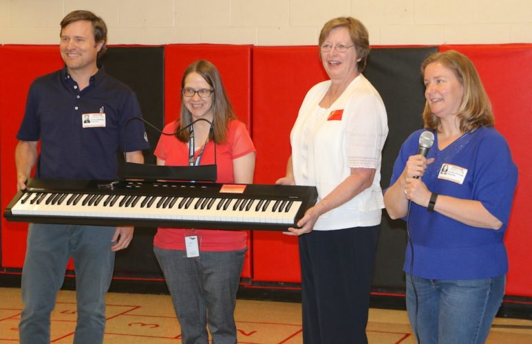 Pictured, from left, are Friends of Music Board member Andrew McMillan; Shepherdstown Elementary School Music Teacher Amanda Licea; Friends Vice President Linda Walker; and Friends Office Manager Jennifer Perrotte. (Submitted photo)