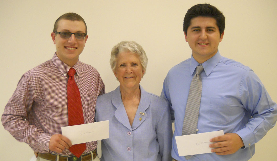 Sherry Smith (president, Dispanet Scholarship) is shown presenting 2017 Dispanet Scholarships for $2,400 to Lee Curran and Ryan Snyder (Spring Mills High) at the Berkeley County Council PTA Spring Awards Banquet. (Submitted photo)