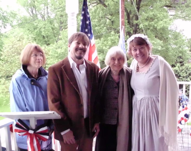 William Henshaw Chapter DAR and Adam Stephen Memorial Association members gather after the May 12 ceremony honoring Adam Stephen, founder of Martinsburg.  Left to right: Eileen Southerly, Keith Hammersla, Nancy Myers, and Lynn Steptoe. (Submitted photo)