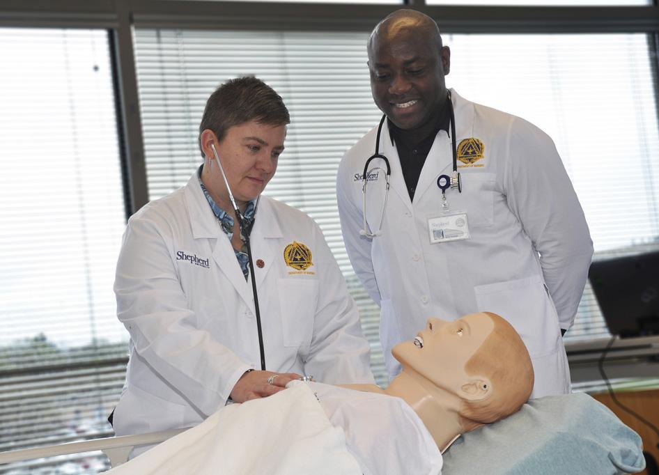 Shown is an exercise at the Shepherd's Doctor of Nursing Program. (Photo courtesy of Shepherd University)