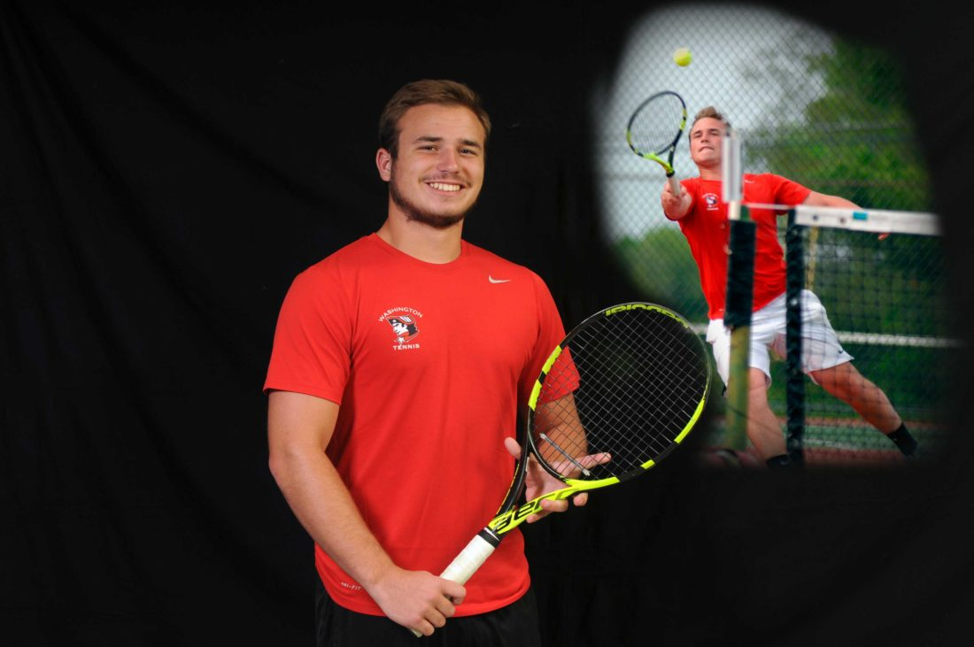 Journal illustration and photo by Ron Agnir Washington's Stone Sanders won several titles at No. 1 singles and reached the second round of the state tournament en route to being named The Journal's BoysTennis Player of the Year.