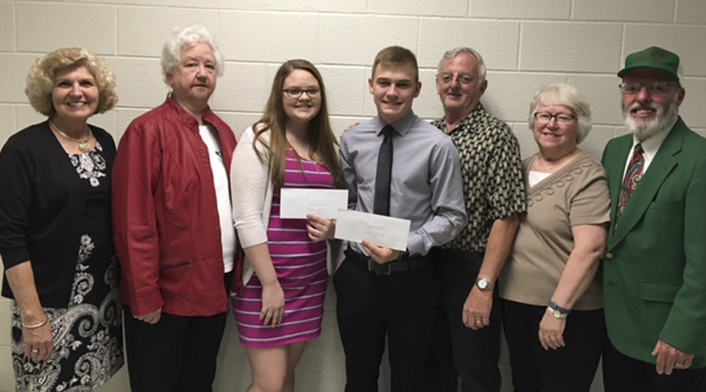 Class members attending the presentation, pictured left to right with the scholarship recipients, included Barby (McDonald) Frankenberry; Juanita (Chapman) Sperry; Kelsey Sperry; Travis Sandy; Ronnie Masters; and Judy (Dunham) Benner, class president; and P. Duane Brown. (Submitted photo)