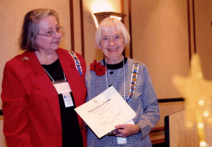 Shown, from left, are Mary Johnson, State American History Chairman, and Nancy Myers, Regent, William Henshaw Chapter NSDAR. (Submitted photo)