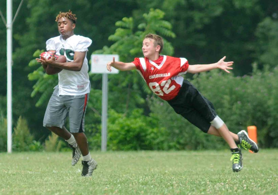 A receiver from Daniel Morgan pulls in a pass as a member of the Shepherdstown Cardinals tries to knock it down Friday afternoon at Wildwood Middle School in a seven-on-seven tournament. See more photos on CU.journal-news.net. (Journal photo by Ron Agnir)