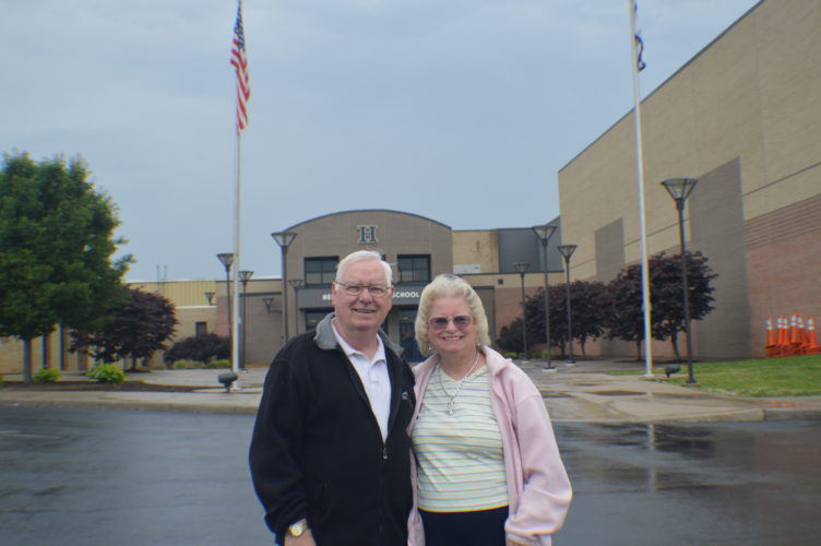 William Anderson with his wife, Gail, outside Hedgesville High School.