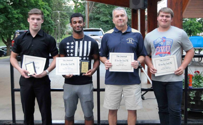 One more chance to celebrate their state championship, several members of the Class AAA Hedgesville boys track team were on hand for Wednesday's annual All-J.A.Y.s celebration. They included all-area honorees Jonathan Garver ,Kyrae Ramos, coach Mark Norris and  Logan Sherwood. (Journal photo by Ron Agnir)