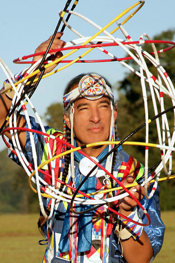 South Dakota's Native American storyteller Kevin Locke (Tokaheya Inajin in Lakota).
