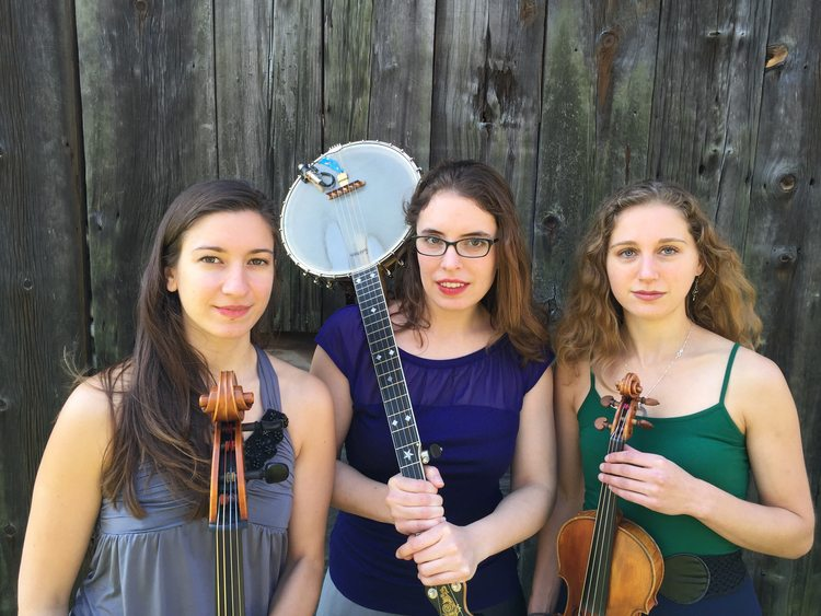 Harpeth Rising members are, from left, Maria Di Meglio (cello), Michelle Younger (banjo), and Jordana Greenberg (violin). (Image courtesy of harpethrising.com)