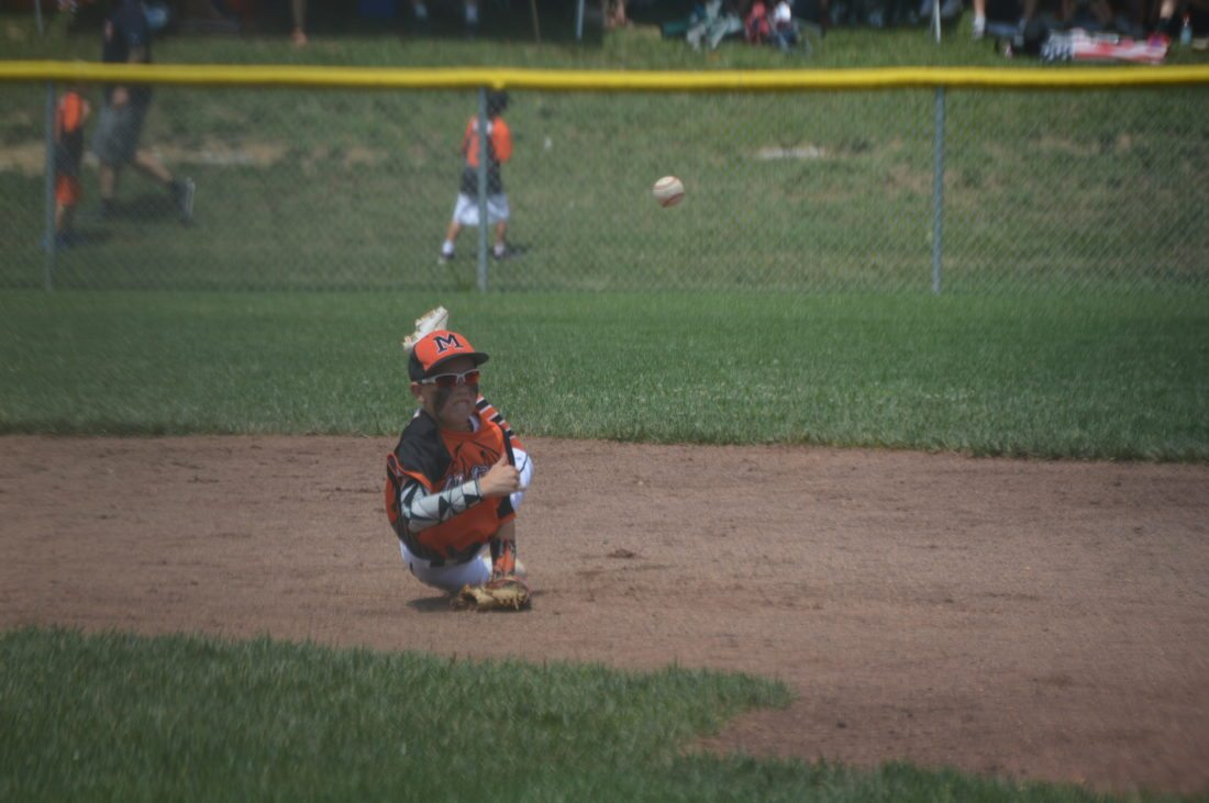 Journal photo by Jessica Manuel Martinsburg second baseman Tanner Triplett throws to first during Saturday's game in the 9-11-year-old state baseball tournament in Martinsburg.