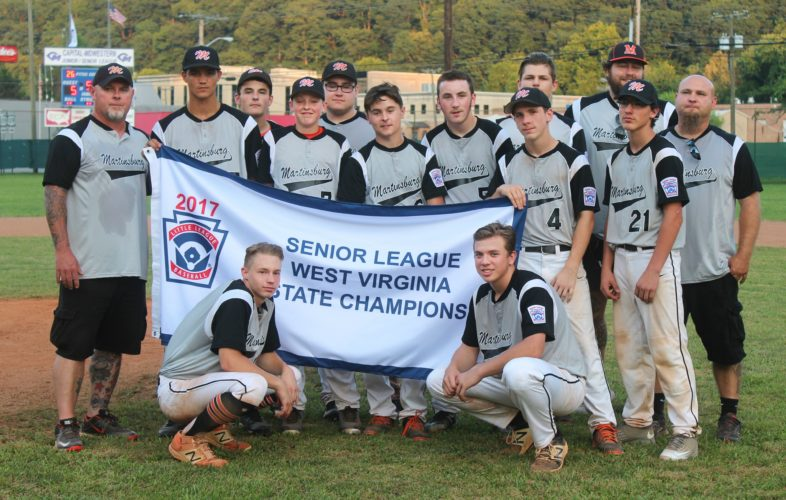 Submitted photo Here is the Martinsburg Senior League All-Stars state championship team: front row, from left, Kyle Farmer and Tyler Moreland; second row, coach Bo Bartley, Daryl Pope, Austin Wallin, Austin Bartley, Evan Stambaugh, Ryan Barger, Cory Hammond and manager Tony Gall; third row, Cash Frazier, Tyler Gall, Shyne Knotts and coach DJ Knotts.