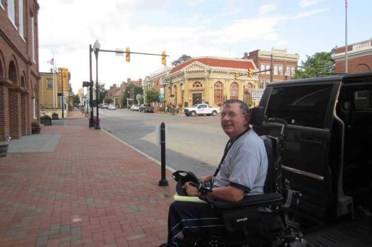 Paul Rosa, who uses a wheelchair, points out that the entire 4 blocks of downtown Charles Town have one handicapped spot.
