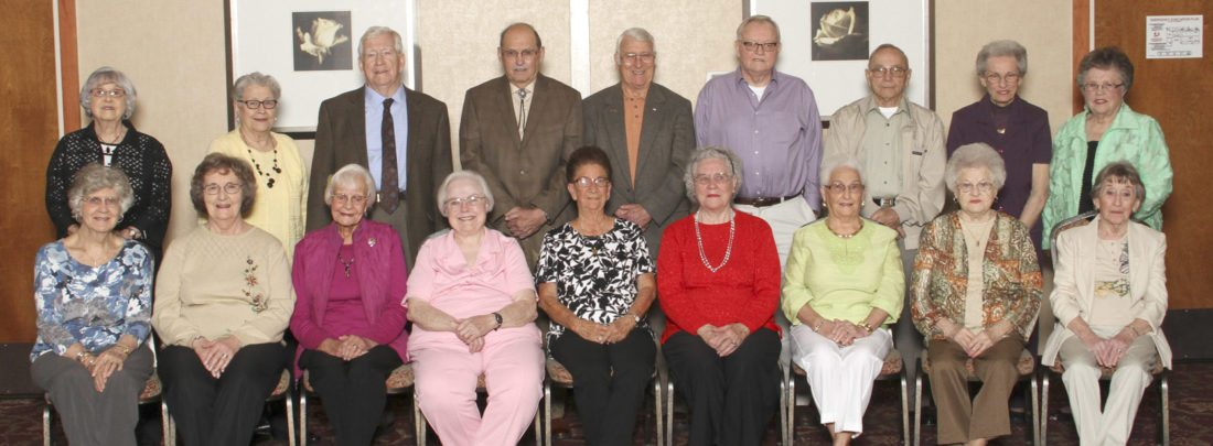 "Attendees ofthe MHS Class of 1952 reunion are, front row from left, Betty (Mason) Grove, Barbara (Nadenbousch) Perrell, Patricia (Louden) Stroop, Thelma Mae Talbott, Gloria (Clem) Fouch, Wanda (Fellers) Light, Viola (Gregory) Usak, Beverly (Runkles) Grove & Pat (Seldon) Johnson. In the second row are Betty (Swartz) Jones, Donna Jean (Pierce) Staubs, Gerald Staubs, John Hawk, Walter Turner, Charles Heck, Harry ""Tuck"" Wayne Kline, Lou Ann (Gain) Ponton &  Betty (Miller) Robinson. (Submitted photo)"