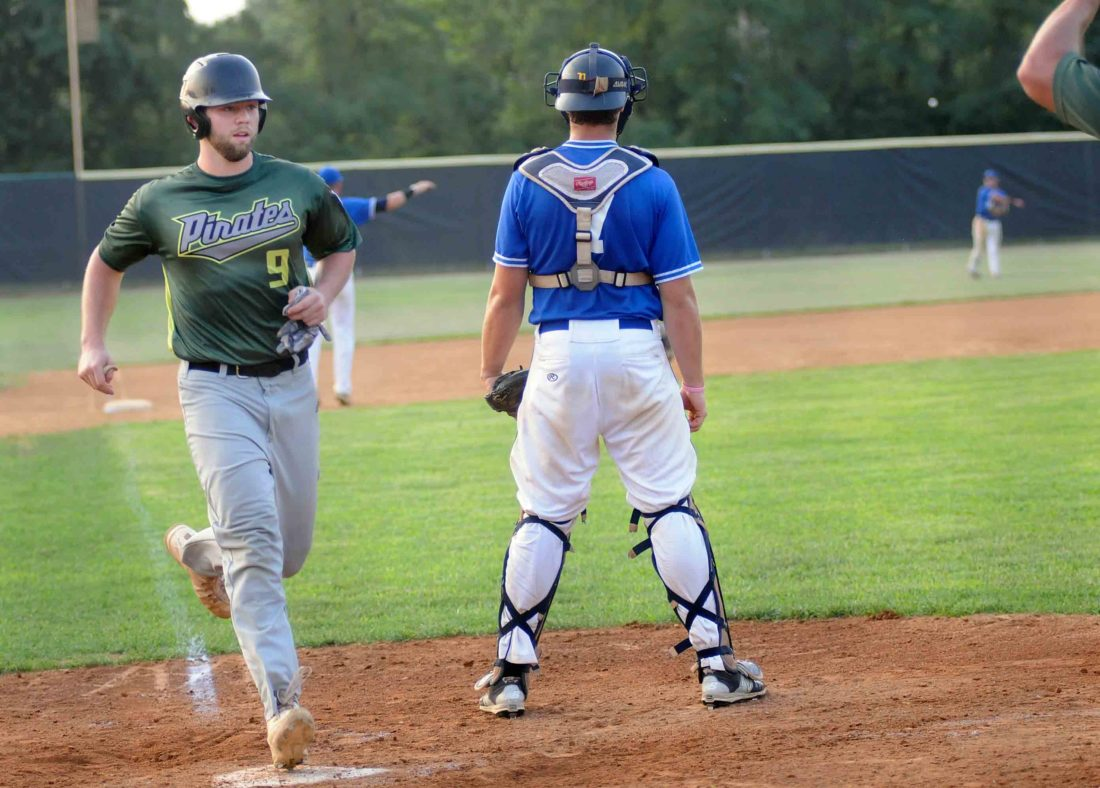 West Virginia's Daniel Heleine scores during the third inning Wednesday evening in the Blue Ridge Adult Baseball playoffs. See more photos in CU.journal-news.net.  (Journal photo by Ron Agnir)