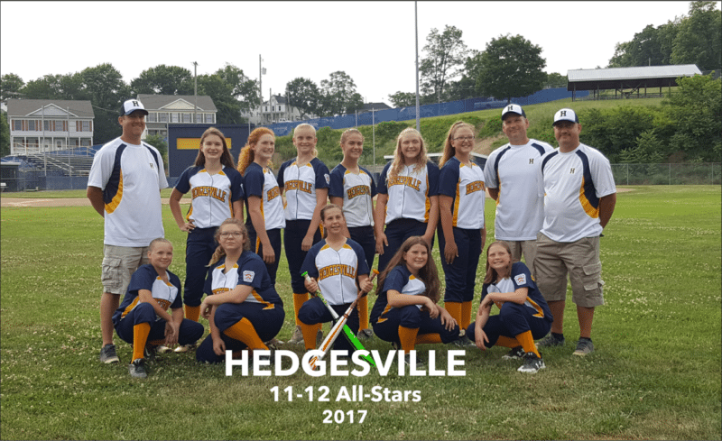 Submitted photo Members of the Hedgesville 11-12-year-old softball team include, in no particular order, Laken Copenhaver, Cayleigh Laughlin, Jaylah Jacobi, Kelsea Vandine, Jordan Williams, Danica Propst, Emily Cole, Skylar Yates, Kamari Smoot, Morgan Gutteridge and Faith Cooper.