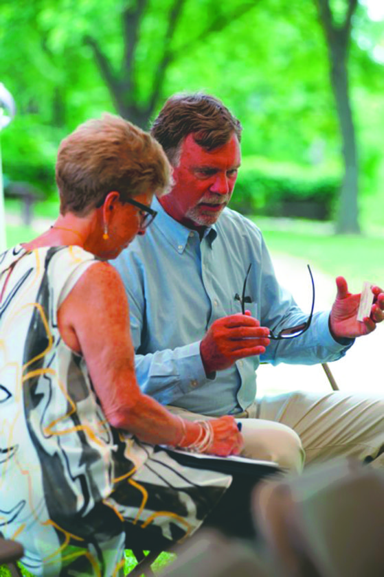 Submitted photo Wayne Bishop, Harpers Ferry mayor, right, speaks with Mary Jo Brown, regional coordinatior for U.S. Sen. Joe Manchin.