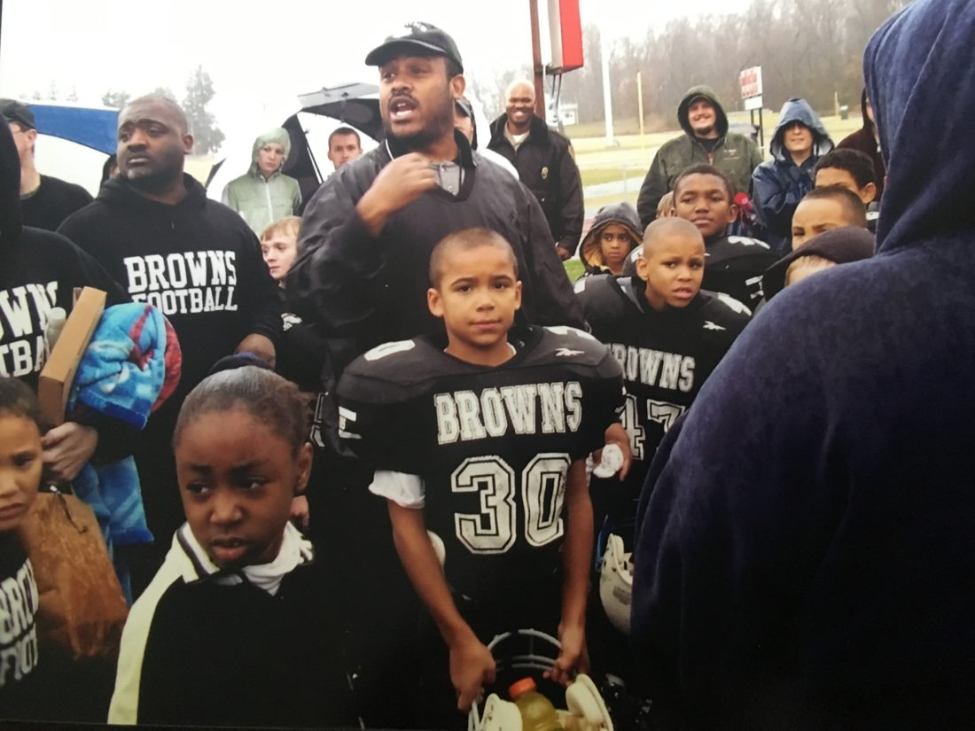 Submitted photo Isaac Brown is pictured after playing a game for the Eastern Panhandle Youth Football League Browns several years ago. Brown recently donated $10,000 he won in an essay contest to the league.