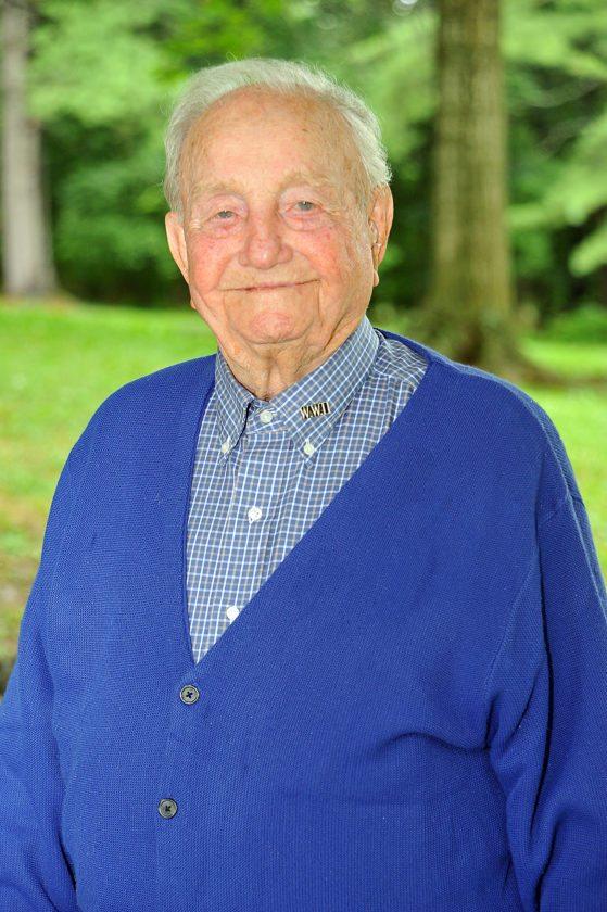 World War II Veteran Keiver Jordan stands proudly at the War Memorial Park in Martinsburg.