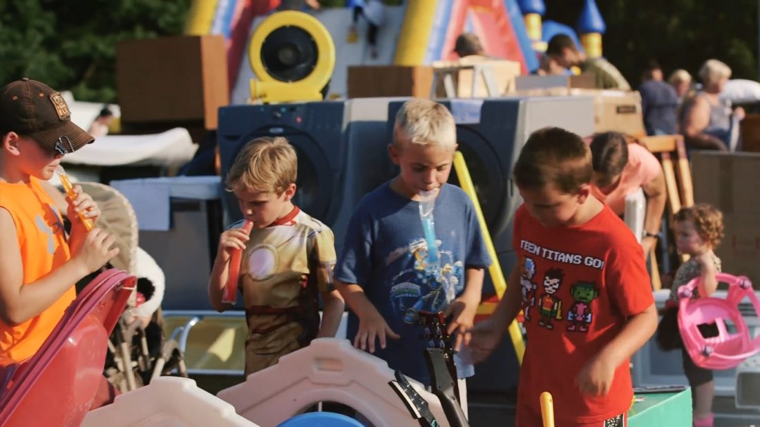 Pictured are kids exploring the options at the annual Great Giveaway in Hedgesville. (Submitted photo)