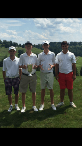 Submitted photo Members of the Washington golf team pose after winning the West Virginia Golf Association  High School Invite on Thursday in Wheeling. ChristianBoyd, third from left, won individual honors.