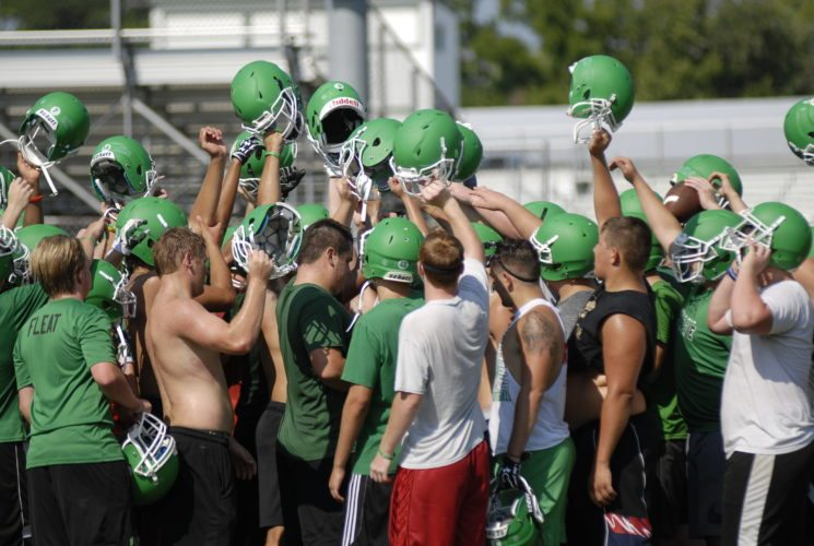 Journal photo by Jessica Manuel Members of the Musselman football team come together during practice on Tuesday. The Applemen are looking to reach the playoffs for a third straight season.