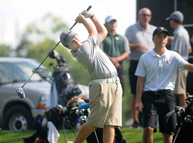 Hedgesville's John Francisco watches his hit during the Berkeley Springs Invitational golf tournament at Cacapon State Park on Thursday.