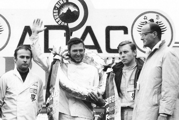 Submitted photo Bill Scott, middle, stands on the podium at the Nurburgring, Germany, race track where he was named the World Champion Formula Vee driver in 1970.