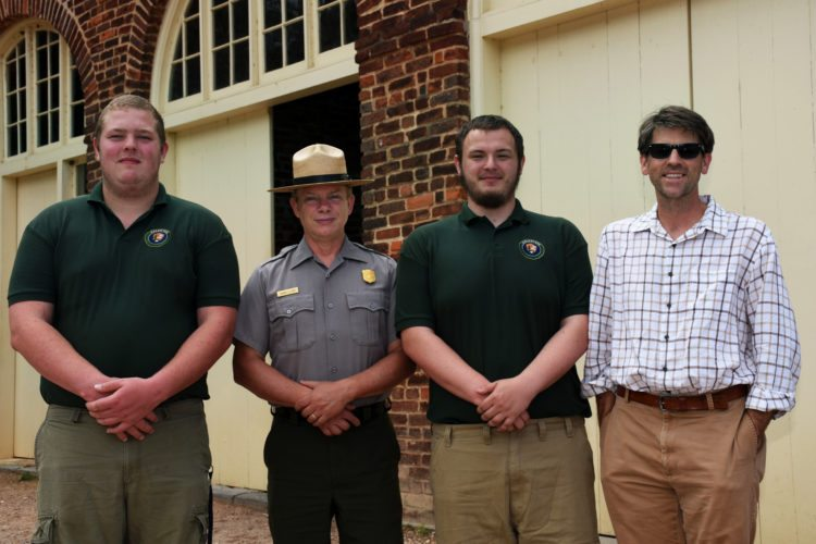 Pictured, from left, are Joshua Hughes, a history major from Mechanicsville, Maryland; Dennis Frye, chief historian at Harpers Ferry National Historical Park; Michael Solomonik, a history major from Waldorf, Maryland; and Dr. James Broomall, assistant professor of history and director of Shepherd's George Tyler Moore Center for the Study of the Civil War. (Photo courtesy of Shepherd University)