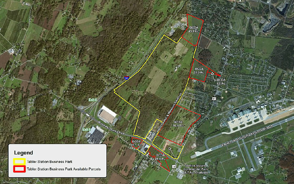 Map of available property at Tabler Station Business Park.