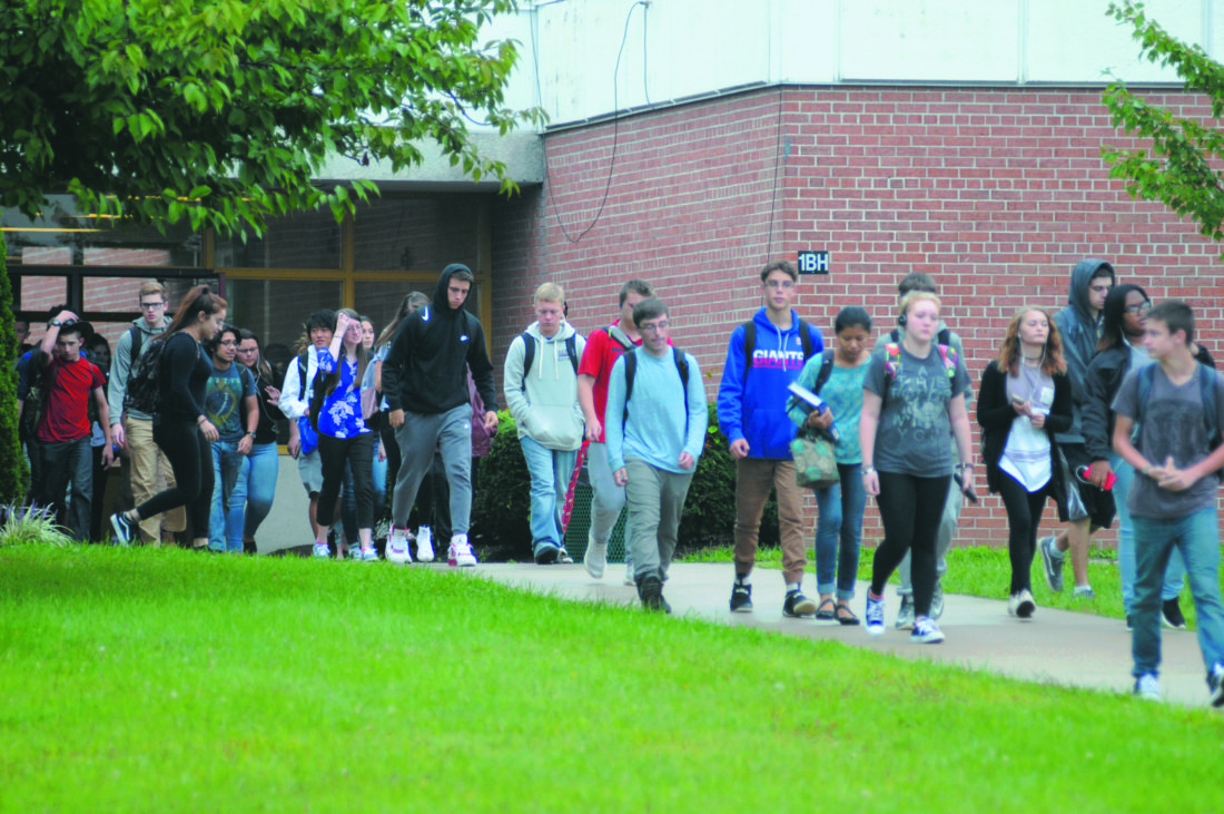 Students leaving Jefferson High School Tuesday afternoon in Shenandoah Junction. (Journal Photo by Ron Agnir)