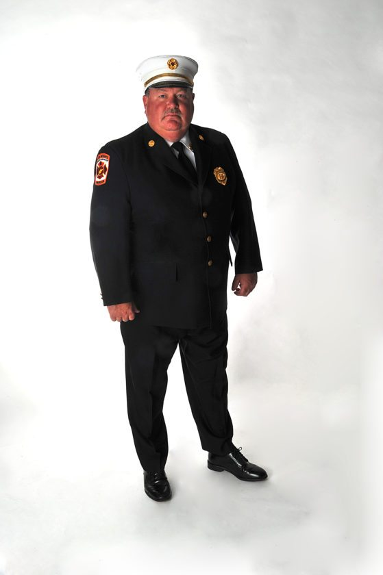 Chief Marty Roberts stands proudly for a formal portrait. Roberts is a career firefighter in Berkeley County and serves in the Baker Heights Volunteer Fire Department. (Submitted photo)