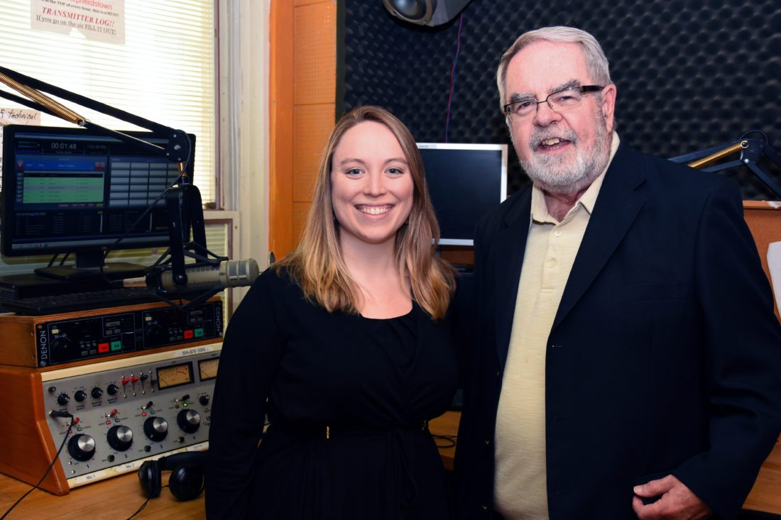 Pictured, from left, are Liz McCormick, Shepherd alumna and Eastern Panhandle reporter and producer for West Virginia Public Broadcasting, and Mike McGough, general manager of Shepherd's radio station, 89.7 FM WSHC. (Photo courtesy of Shepherd University)