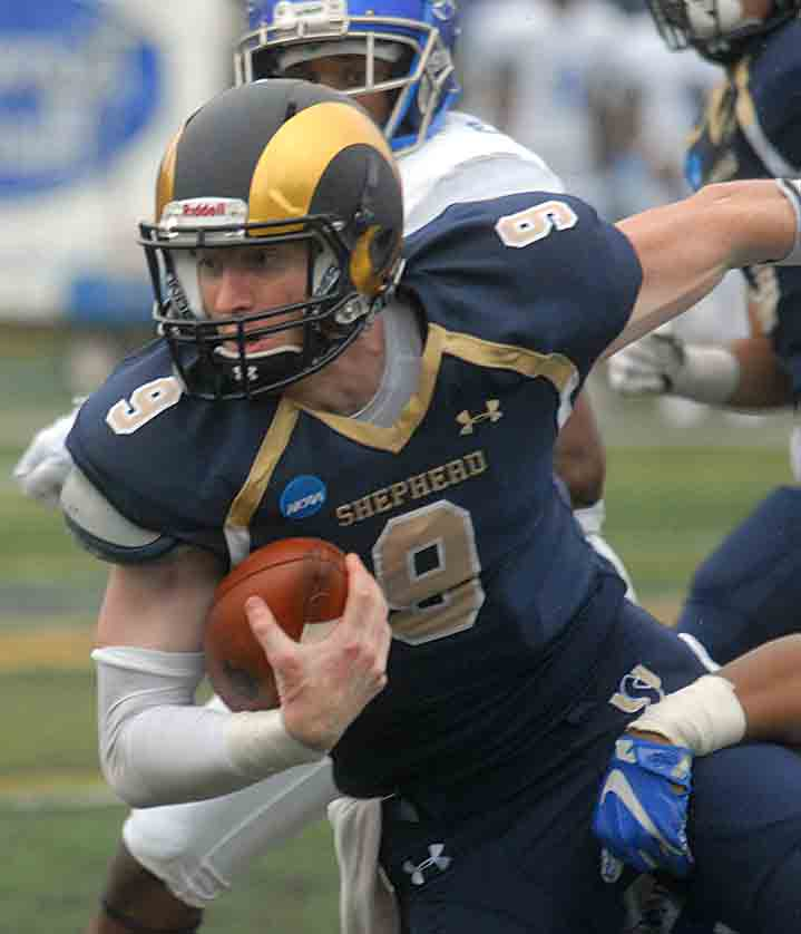 Shepherd quarterback Connor Jessop accounted for seven touchdowns — five passing and two rushing — in the Rams' win on Saturday over Notre Dame College. (Journal photo by Rick Kozlowski)