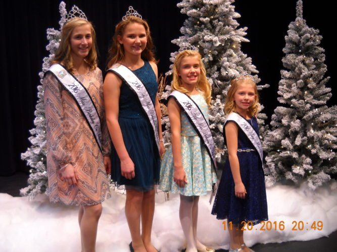 Shown above are Aleynah Miller (2016 Miss Berkeley County Schools); Kaleigh Weatherholtz (2016 Junior Miss); Marykate McCune (2016 Little Miss); and Cheyanne Minnick (2016 Tiny Miss). (Submitted photo)