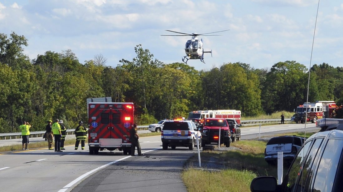 A HealthNet air ambulance lands on Route 9. (Journal photo by Jeff McCoy)