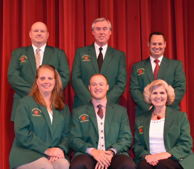 Submitted photo Members of the Musselman HighSchool Athletic Hall of Fame Class of 2017 include (from left): back row, Kenny Campbell, John Spiker and Mark Parrish; front row, Ginger Shelton Baltimore, Dustin Haislip and Barby Frankenberry.