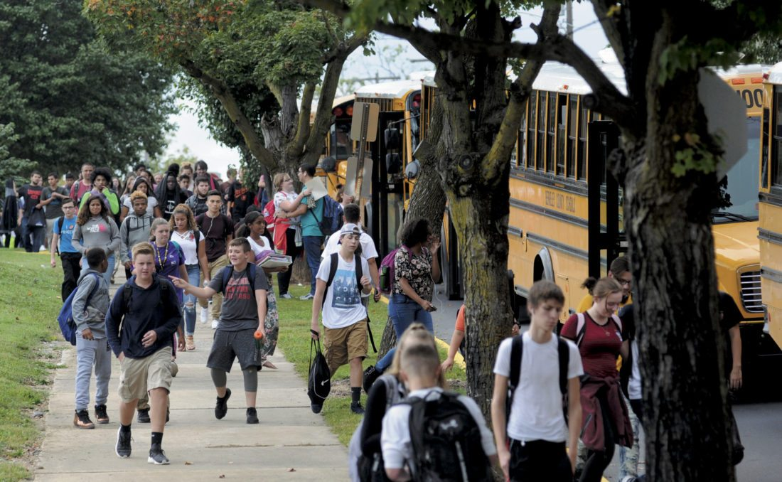 Berkeley County Students leaving Martinsburg High School and South Middle School Wednesday afternoon. (Journal Photo by Ron Agnir)