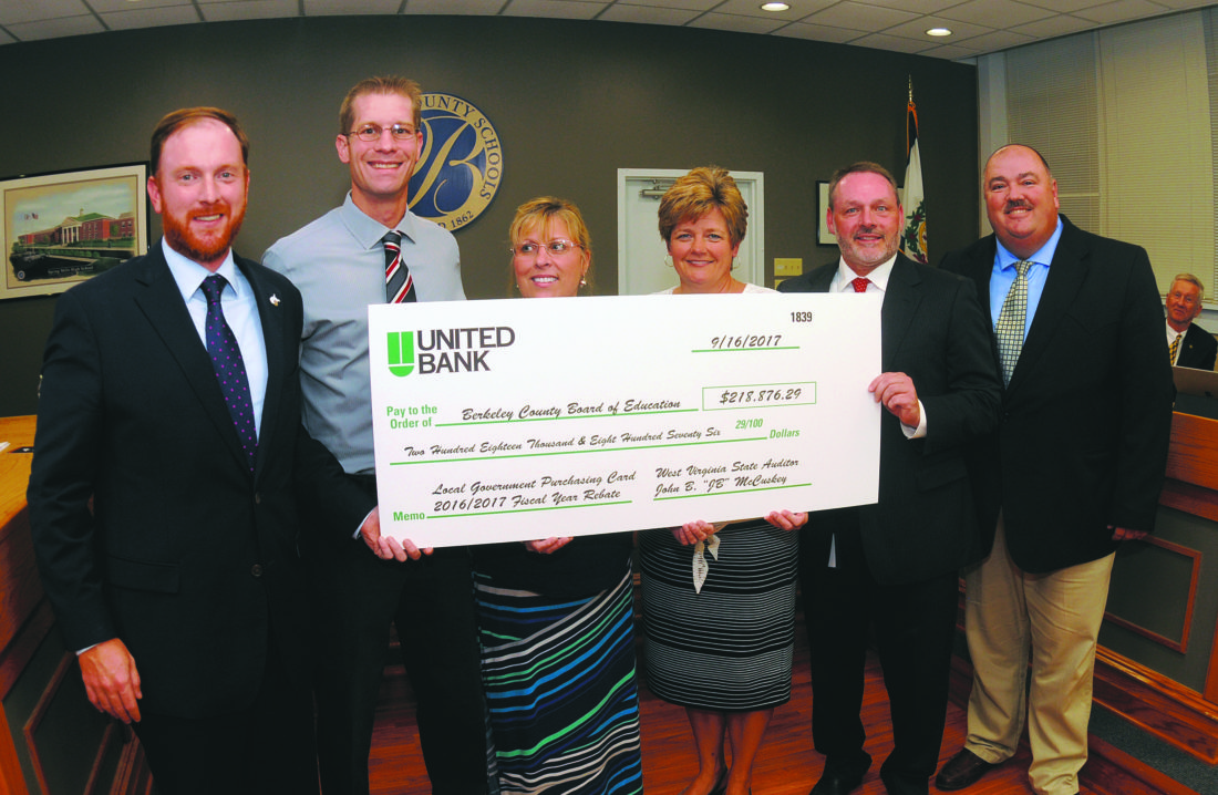 "19 Purchasing Card Rebate ra 09-18-17 From left: WV State Auditor John B. ""JB"" McCuskey; Brad Sponaugle, Lisa Cloonan, Chris Effland, Jim Butts and Gary Cogle. JB McCuskey presents a rebate check for $218,876.29 to the Berkeley County Board of Education Treasury staff for the 2016-17 Fiscal year for participating in the Local  Governent Purchasing Card Program at the monday evening Berkeley County Board of Education meeting in Martinsburg. According to Gary Cogle, Local Government Purchasing Card Specialist, the Berkeley County BOE joined the program in Nov. 1st, 2011. Total ammount spent was $81,111,076.15.  The total ammount of rebate since then is $809, 291.23. (Journla Photo by Ron Agnir)"